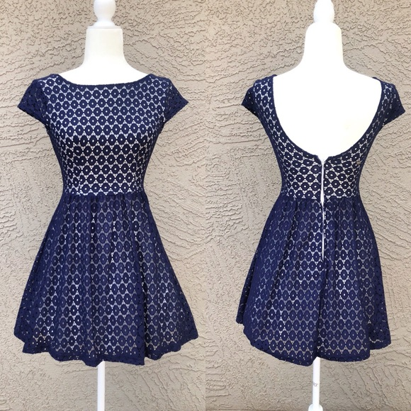 4c38271902e7 B Darlin Dresses | Navy Crochet Lace Fit Flare Dress | Poshmark